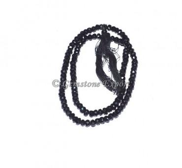 Black Onyx Faceted Roundel Gemstone Beads
