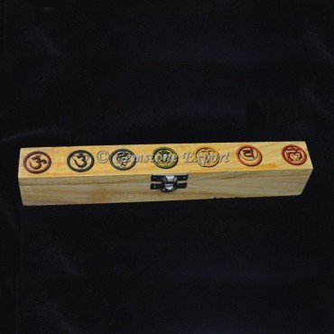 Color Chakra Sanskrit Symbol Set on Wood Box