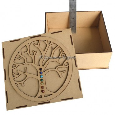Seven Chakra Flower Of Life Tree Wooden Gift Box