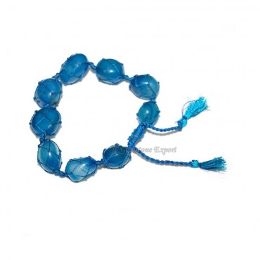Blue Onyx Tumbled STones Bracelet