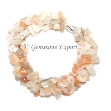 Multi Moonstone Chips Bracelet