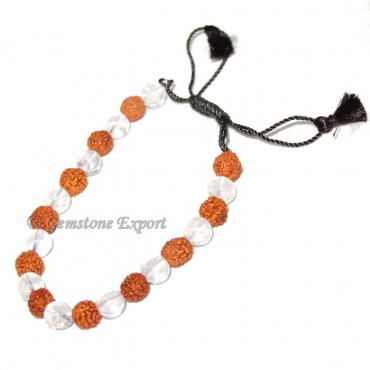 Rudraksha With Crystal Quartz Bracelet