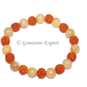 Rudraksha With Golden Quartz Bracelets