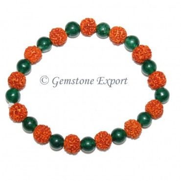 Rudraksha With Green Aventurine Bracelets