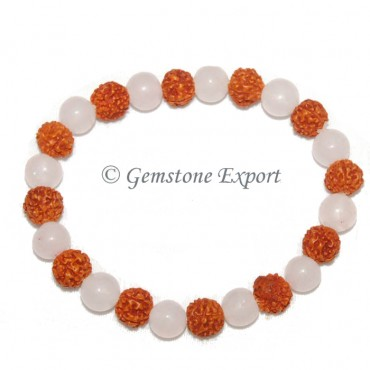 Rudraksha With Rose Quartz Bracelets