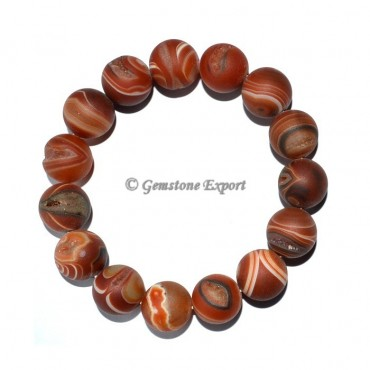 Red Onyx Druzy Round Bracelets
