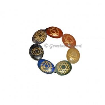 Engraved Chakra Symbol Oval Bracelets