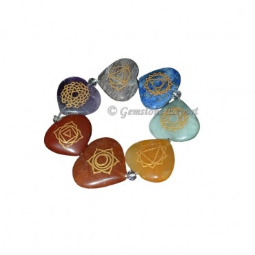 Engraved Chakra Heart Bracelets
