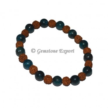 Blue Apatite With Rudraksha Bracelet