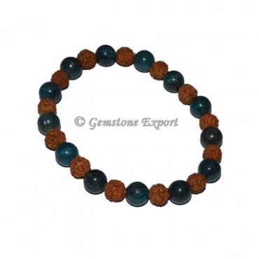 Blue Apatite With Rudraksha Bracelet