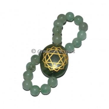 Green Aventurine Engraved Heart Chakra Bracelet