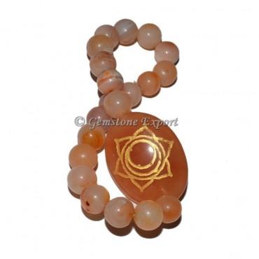 Peach Aventurine Sacral Chakra Engraved Bracelet