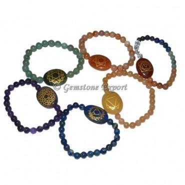 Seven Chakra Engraved Bracelet Set