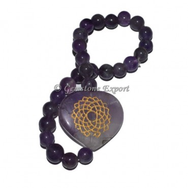 Amethyst Crown Chakra Engraved Hearts Bracelet