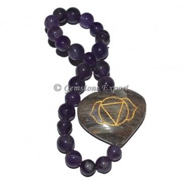 Amethyst Third Eye Seven Chakra Engraved Bracelet