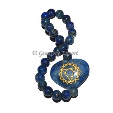 Throat Chakra Engraved Lapis Lazuli Bracelet