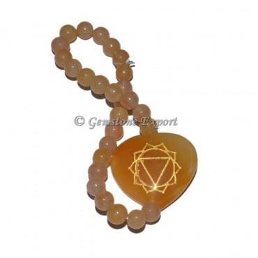 Golden Quartz Seven Chakra Engraved Symbol Bracelet
