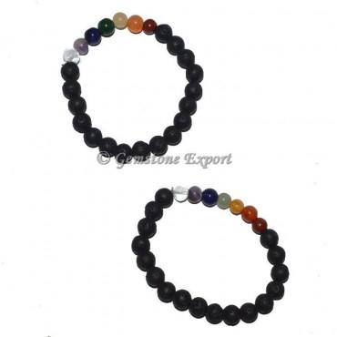 Lava Stone Seven Chakra Bracelet