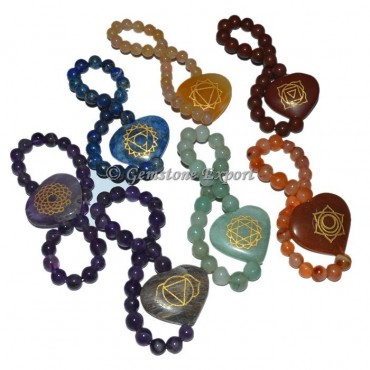 Seven Chakra Engraved Hearts Bracelet Set
