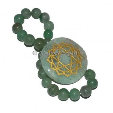 Engraved Green Aventurine Chakra Bracelet