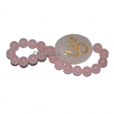 Engraved Om Rose Quartz Bracelet
