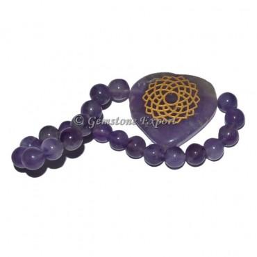 Amethyst Stone Hearts Crown Chakra Bracelet