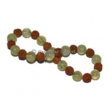 Green Prehnite With Rudraksha Bracelet