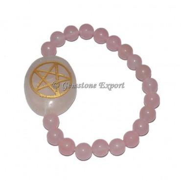 Rose Quartz Pentagram Engraved Bracelet