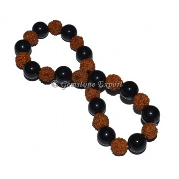 Black Obsidian With Rudraksha Bracelet