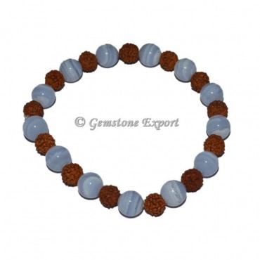 Blue Lace Agate With Rudraksha Bracelet