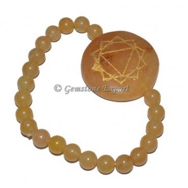 Golden Quartz 7 Chakra Engraved Bracelet