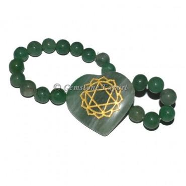 Green Aventurine Heart Chakra Engraved Bracelet