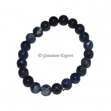 Sodalite Stone Round Beads Bracelet
