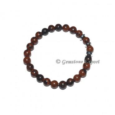 Round Charm Mahogany Obsidian Bracelets