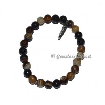 Owl Charm Black Onyx Banded Bracelets