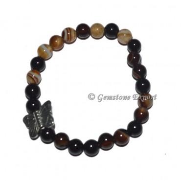 Butterfly Charm Black Onyx Banded Bracelets