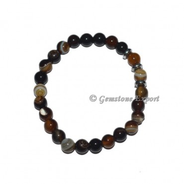 Round Charm Black Onyx Banded Bracelets
