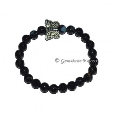 Butterfly Charm Black Onyx Bracelets