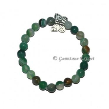 Butterfly Charm Green Agate Bracelets