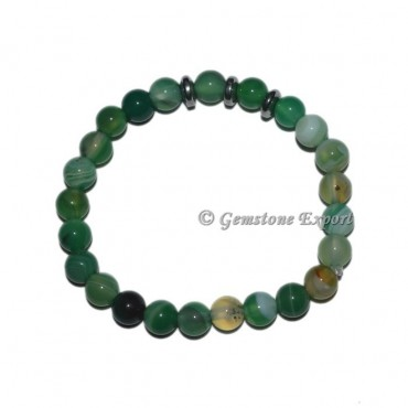 Round Charm Green Agate Bracelets