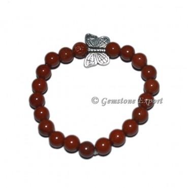 Butterfly Charm A grade Red Jasper Bracelets