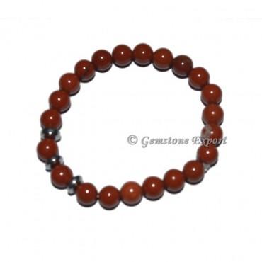 Round Charm A grade Red Jasper Bracelets