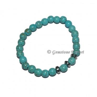 Round Charm Synthetic Turquoise Bracelets