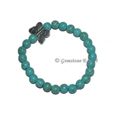 Butterfly Charm Synthetic Turquoise Bracelets
