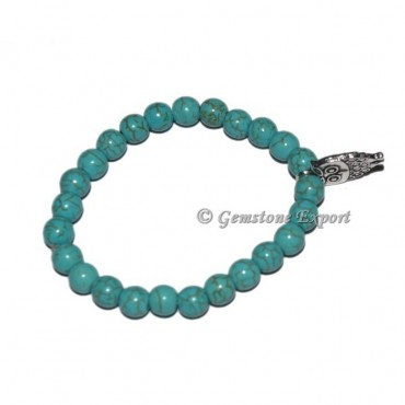 Owl Charm Synthetic Turquoise Bracelets
