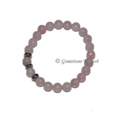 Round Charm Rose Quartz Bracelets