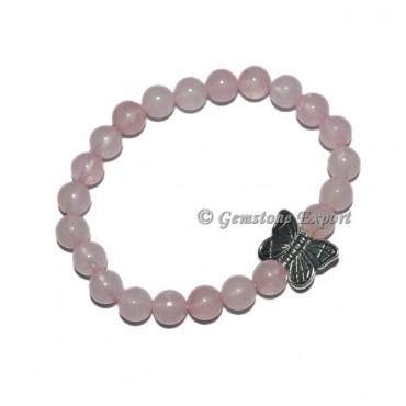 Butterfly Charm Rose Quartz Bracelets