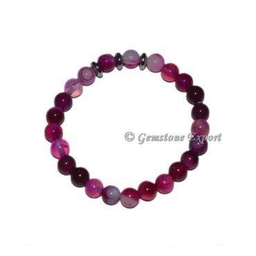 Round Charm Pink Onyx Bracelets