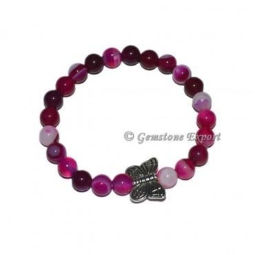 Butterfly Charm Pink Onyx Bracelets