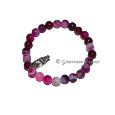 Owl Charm Pink Onyx Bracelets